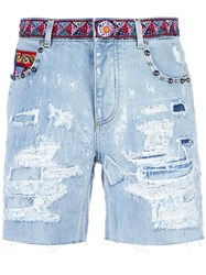 Dolce And Gabbana Ripped Detail Denim Shorts Blue