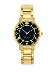 Kate Spade Gramercy Goldtone Stainless Steel And Enamel Bracelet Watch Black Gold Black