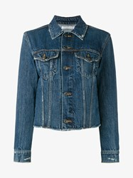 Vince Raw Edge Denim Jacket Blue Denim Black Mink