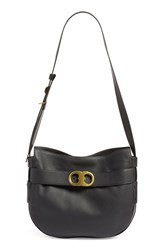 Tory Burch 'Gemini' Belted Leather Hobo Black