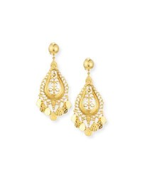 Jose And Maria Barrera Hammered Golden Teardrop Statement Earrings