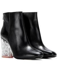 Acne Studios Ora Glass Embellished Leather Ankle Boots Black