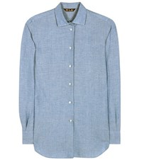 Loro Piana Kara Cotton And Linen Blend Shirt Blue