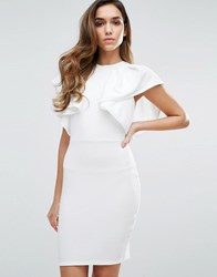 Club L High Neck Ruffle Detailed Dress White