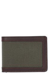 Filsone Outfitter Leather And Canvas Bifold Wallet Green Otter Green