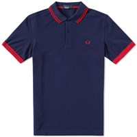 Fred Perry Solid Cuff Pique Polo Blue