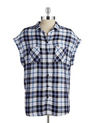 Beach Lunch Lounge Plaid Button Front Shirt Pink Multi