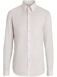 Burberry Slim Fit Striped Cotton Poplin Dress Shirt White