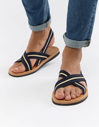 Asos Design Sandals With Navy Tape Straps
