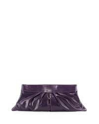 Lauren Merkin Louise Soft Calfskin Clutch Bag Eggplant