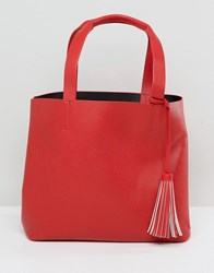 Pieces Shopper Bag With Tassle Red