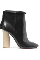 Tory Burch Bandelier Fringed Leather Ankle Boots Black