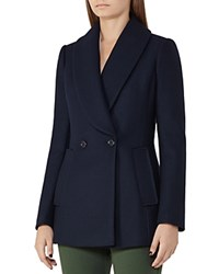 Reiss Malika Wool Blend Coat Night Navy