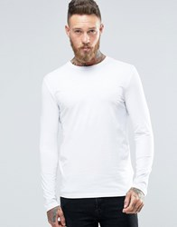 New Look Crew Neck Long Sleeve Top In White White