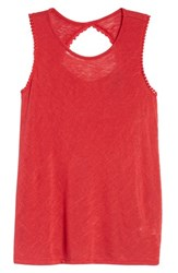 Bobeau Cutout Back Tank Red