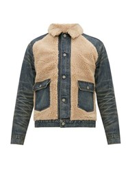 Rrl Faux Shearling And Denim Jacket Blue