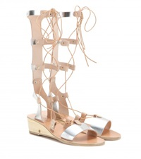 Ancient Greek Sandals Thebes Wedge Metallic Leather Gladiator Sandals Silver