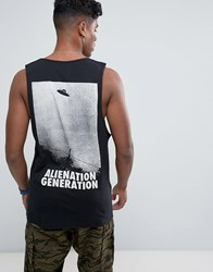 Antioch Alienation Back Print Vest With Scoop Armhole Black