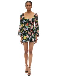 Alice Mccall Printed Floral Crepe Mini Dress Black