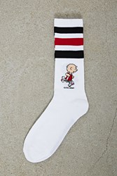 Forever 21 Men Charlie Brown Crew Socks White Black