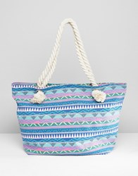 South Beach Blue Geo Print Canvas Tote With Knotted Rope Handles Multi