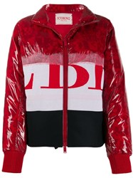 Iceberg Contrast Graphic Print Puffer Jacket Red