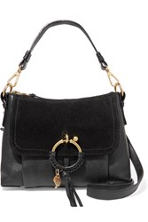 See By Chloe Joan Small Textured Leather And Suede Shoulder Bag Black