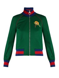 Gucci Flower And Tiger Applique Jersey Bomber Jacket Green