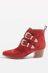 Topshop Montana Western Ankle Boots Red