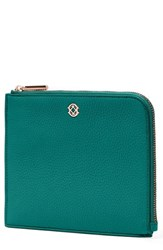 Dagne Dover Small Elle Leather Clutch Blue Green Palm