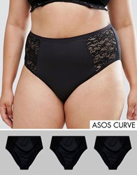 Asos Curve Microfibre And Lace Highwaist Brief 3 Pack Black
