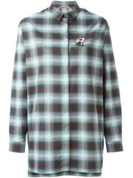 N 21 Nao21 Embellished Cat Checked Shirt Green