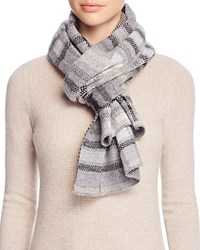 Bloomingdale's C By Bloomingdales Metallic Plaid Knit Scarf Gray Neutrals