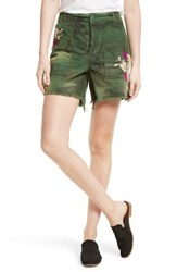 Free People Women's Camo Embroidered Scout Shorts Moss