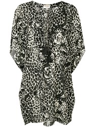 Saint Laurent Leopard Print Dress Black