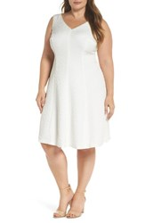 London Times Plus Size Women's Textured Fit And Flare Dress White