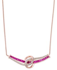 Macy's Certified Ruby 1 3 4 Ct. T.W. And Diamond 1 4 Ct. T.W. Collar Necklace In 14K White Gold Red