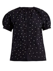 Jupe By Jackie Elbrus Floral Embroidered Cotton Top Navy White