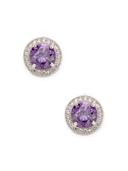 Rivka Friedman Crystal Stud Earrings Silver