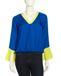 Madison Marcus V Neck Bell Cuff Silk Blouse Paradise Blue Lime