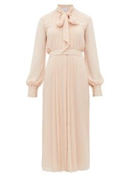 Luisa Beccaria Pussybow Pleated Chiffon Dress Light Pink