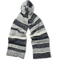 The Elder Statesman Striped Cashmere Scarf Storm Blue