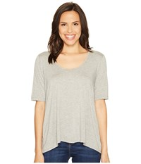 Three Dots 1 2 Sleeve Relaxed High Low Tee Granite Women's Clothing Gray