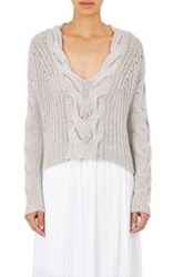 Tess Giberson Women's Cable Knit Crop Sweater Grey