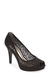 Adrianna Papell Women's 'Foxy' Crystal Embellished Peeptoe Pump Black Fabric