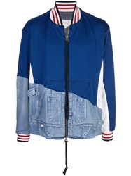 Greg Lauren Split Denim Bomber Jacket Blue