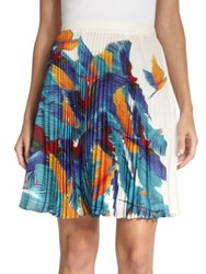 Elle Sasson Hoki Parrot Print Silk Pleated Skirt Parrot Print