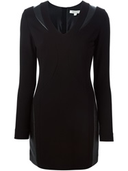 Pierre Balmain Artificial Leather Inserts Fitted Dress Black