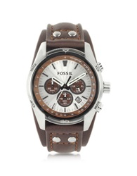 Fossil Tan Leather Watch Cuff Chronograph Brown