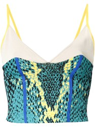 Theatre Products Snakeskin Print Cropped Top Green